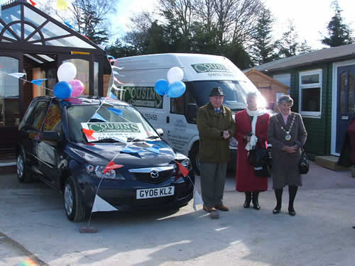 Cousins Conservatories Car Giveaway The winning couple with the Major of Horsham
