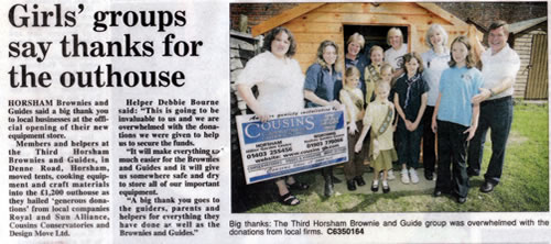Cousins Conservatories Horsham Brownies and Guides