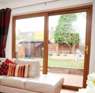 Golden Oak Sliding Patio Doors Internal View