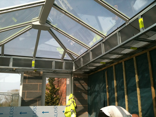 Living room orangery installation during