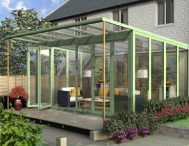 Veranda Lean To Glazed Extension in Sage Green