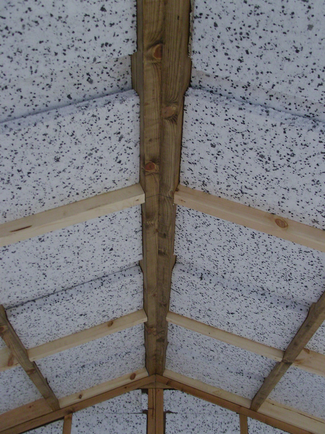 Close up of roof insulation