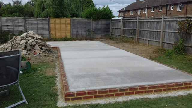 Re-enforced Concrete Base with Brick Support