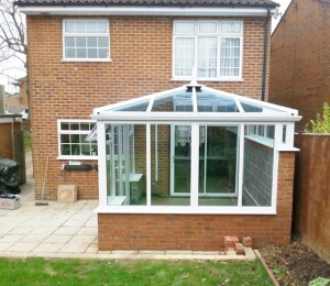 Long conservatory ready for plastering