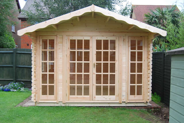 Woodlands 10x14 Balmoral Log Cabin 44mm onto Timber Base Burgess Hill #1