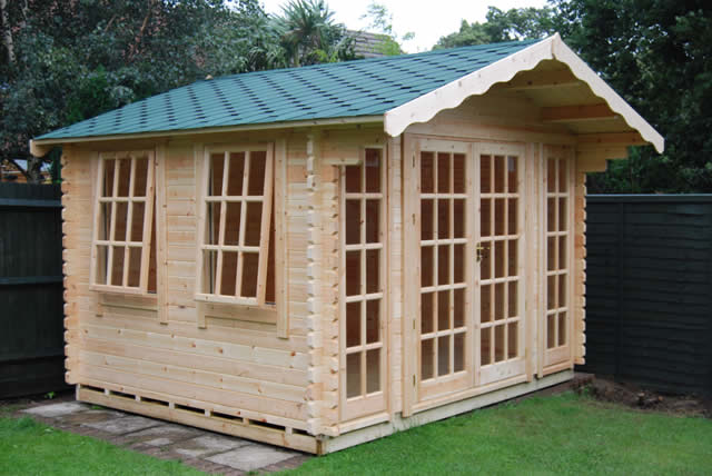 Woodlands 10x14 Balmoral Log Cabin 44mm onto Timber Base Burgess Hill #2
