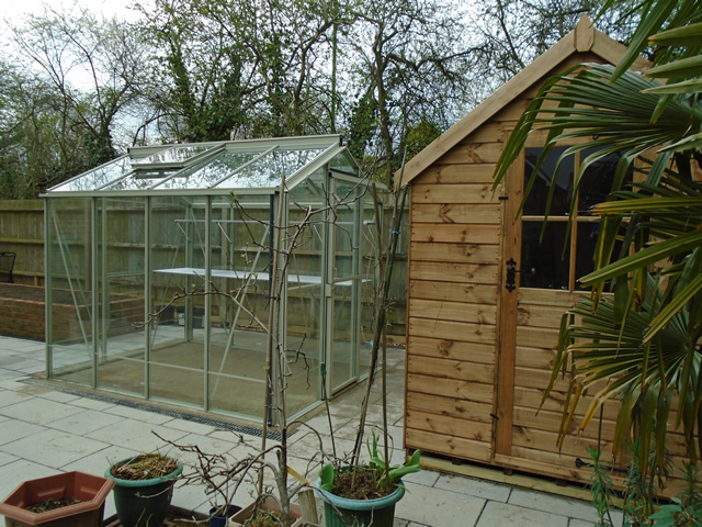 Gale Angled Shed and Greenhouse Installation