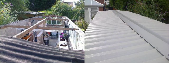 Garage roof refurbishment before and after