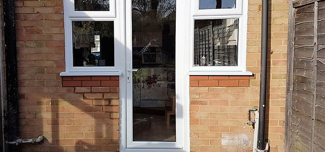 New back door and windows in kitchen after