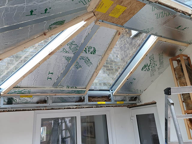 Skam Showing Solid Insulated Roof During Construction