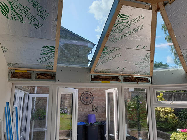 Skam Showing Solid Insulated Roof Panels During Construction