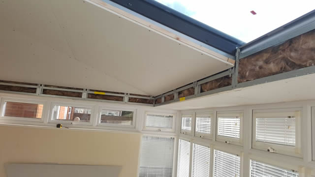 LivinRoof Conservatory Showing Insulation and Plasterboard - Wright