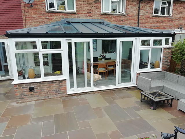 Hipped Lean-to Conservatory Project with Sliding Patio Doors
