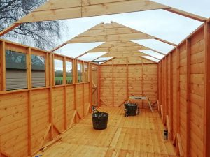 20x8 Powershed Inside View Roof Trusses