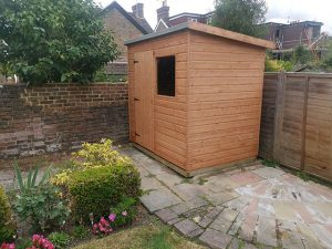 Finished Suffolk Pent Shed Installation - De La Nougerede