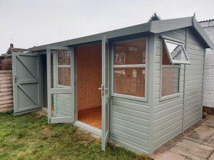 Malvern Arley Pavilion 14x8 Summerhouse with Sideshed Installed in Horsham West Sussex - Heath