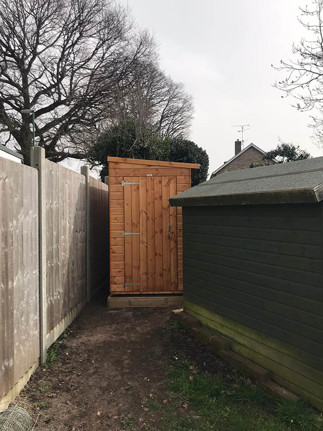 12x4 Custom Powershed Pent Shed Installation in Horsham West Sussex - Slattery
