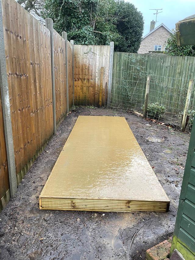 Custom Concrete Base for a 12x4 Garden Shed - Slattery