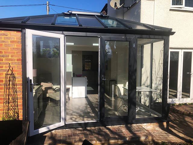 External Picture of a LivinRoof Conservatory Style Solid Roof Extension in Steyning