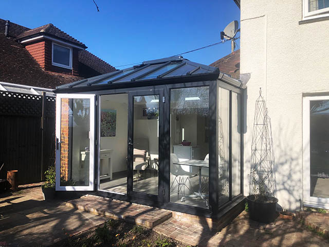 LivinRoof Conservatory Style Solid Roof Extension in Anthracite