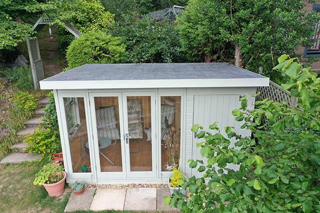 Malvern Studio Pent 12x8 Summerhouse Front View - Wood