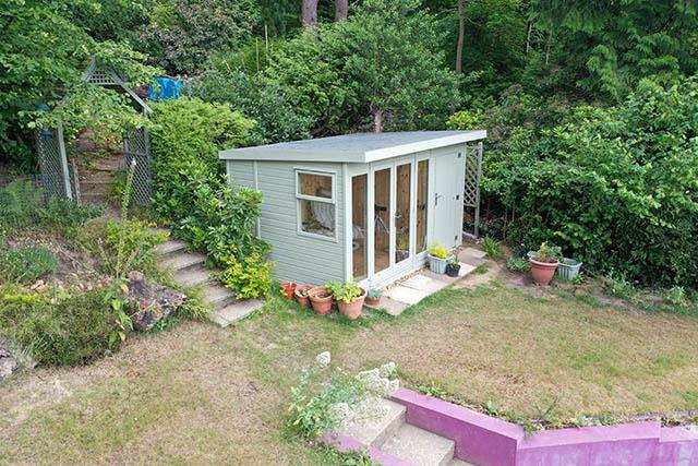 Malvern Studio Pent 12x8 Summerhouse Installation in Dorking - Wood