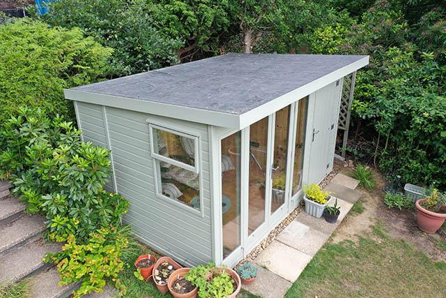 Malvern Studio Pent 12x8 Summerhouse Side View - Wood