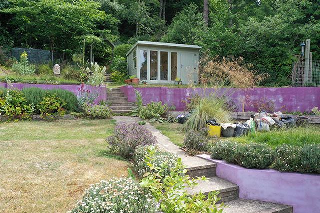 Malvern Studio Pent 12x8 Summerhouse View from Garden Patio - Wood