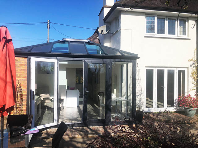 Patio Doors on a LivinRoof Conservatory Style Solid Roof Extension in Steyning