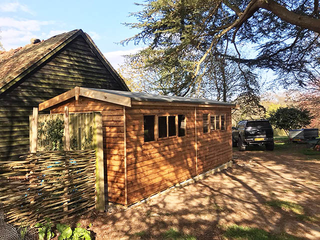 Regency Supreme 20x8 Shed Installation in Wisborough Green - Perry