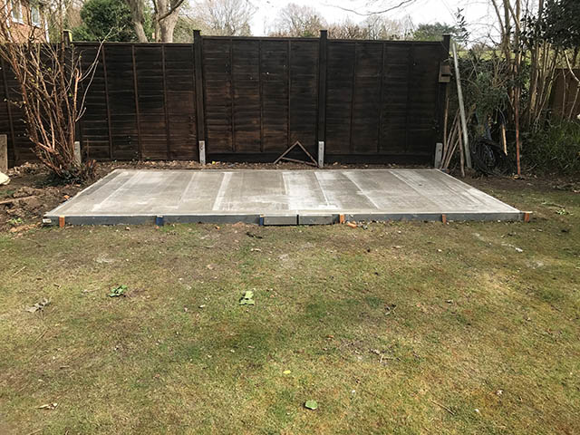 16ft x 8ft Concrete Base for a Shed - Silcox