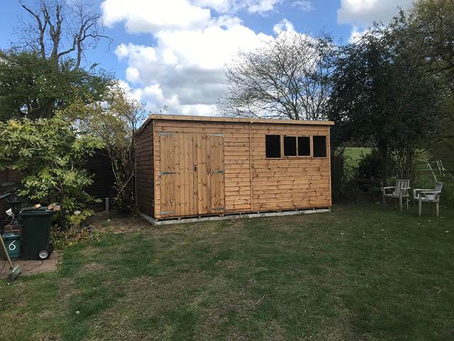 Large Premier Pent 16 ftx 8ft Workshop Installation in Surrey - Silcox