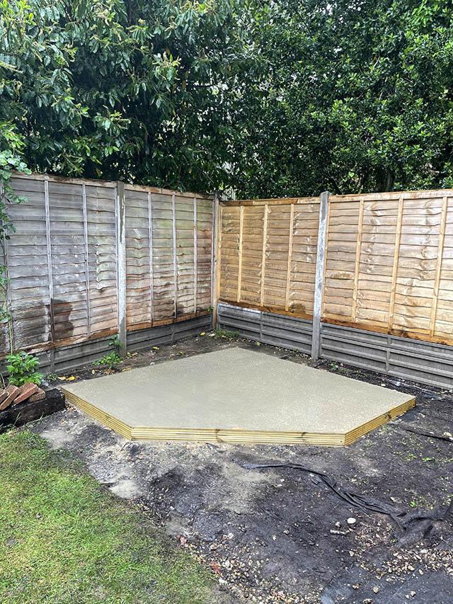 Concrete Base For a Corner Summerhouse - Hutchinson