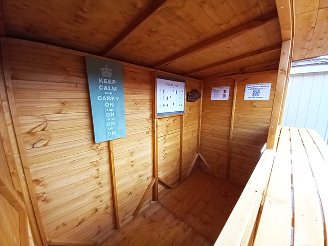 Interior of a Powersheds Pub Shed