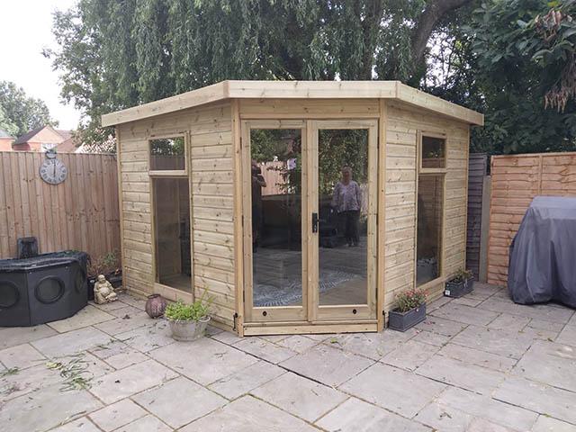 Malvern 10x10 Newland Summerhouse Installation in Cheam Surrey - Hossack